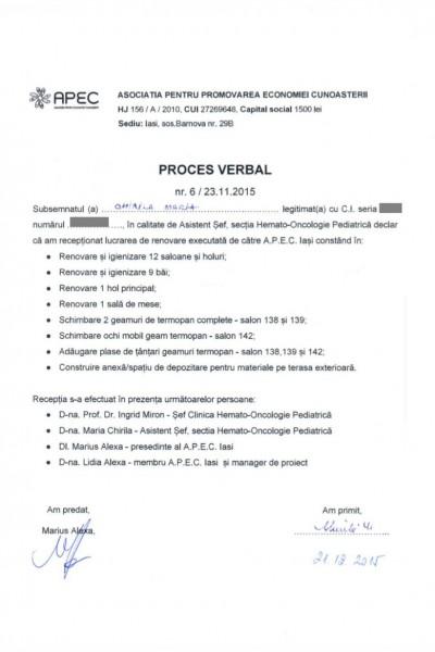 PV 01 receptie lucrari Clinica Hemato-Oncologie